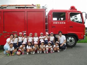 防犯避難訓練 消防車出動
